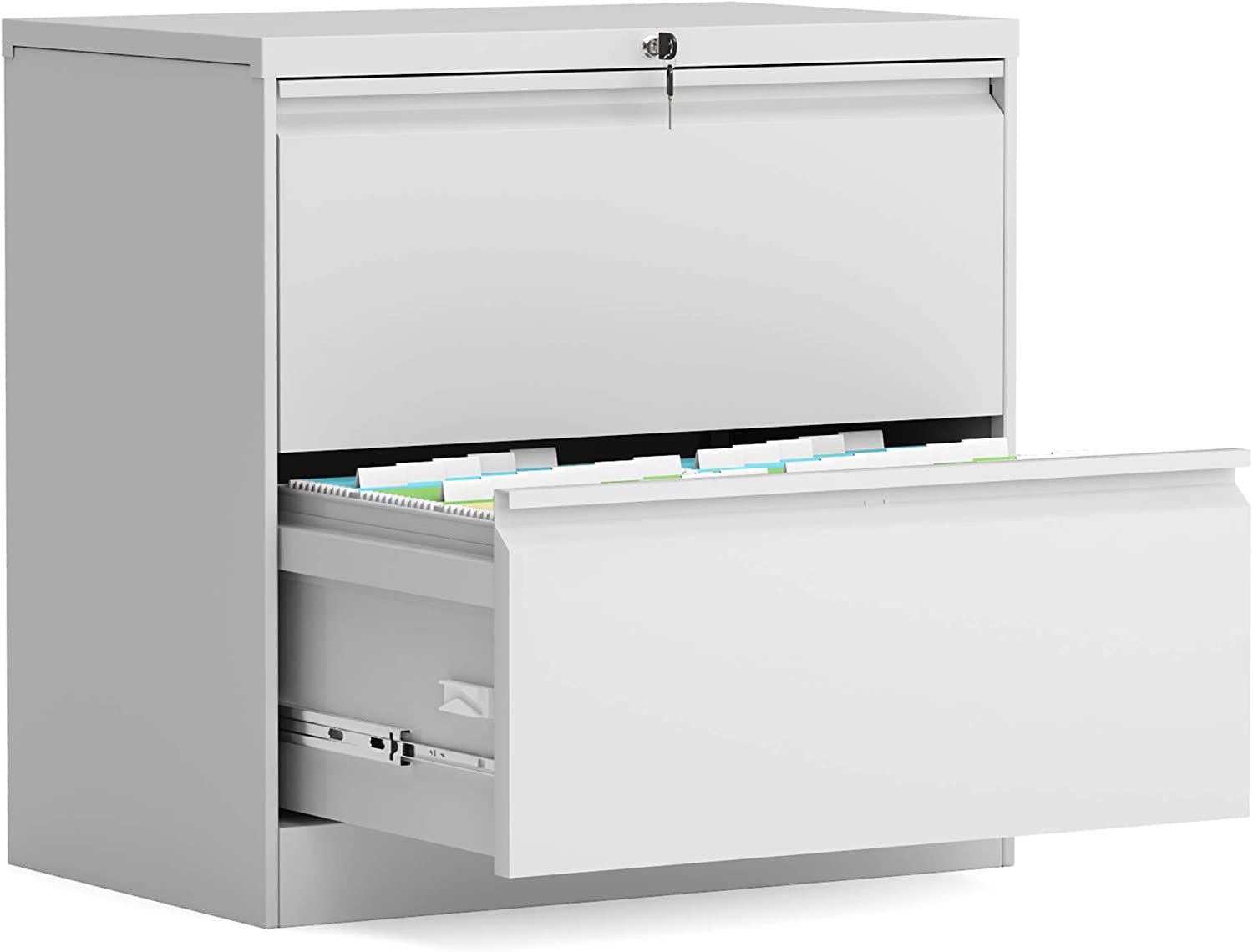 Aobabo homeoffice use Classic 45 Drawer lateral File Cabinet,Metal Steel  Filing Cabinet with Lock,Anti-tilt Structure,Fast Assemble with 45  Screw(White)