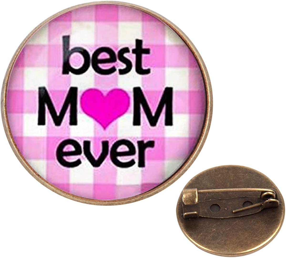 Pinback Buttons Badges Pins Best Mom Ever Mothers Day Love Mom Lapel Pin Brooch Clip Trendy Accessory Jacket T-Shirt Bag Hat Shoe