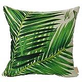 Luxbon Green Sago Cycas Leaf Outdoor Cushion Cover Bamboo Leaves Durable Cotton Linen Throw Palm Leaves Pillowcase Shabby Chic Home Sofa Decor Gifts 18'x18' 45x45cm