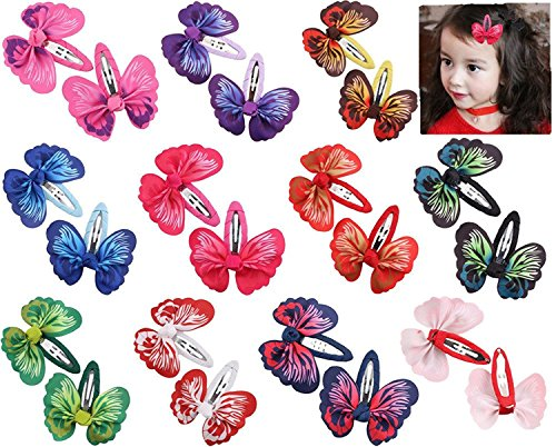 Toptim Baby Girl Hair Clips Toddlers Infants Kids Hair Butterfly Snap Clips Barrettes (20pcs- Butterfly)