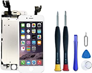 Pre-Assembled Replacement Screen Compatible with iPhone 6 Plus (A1522, A1524, A1593), LCD Display and Touch Screen Digitizer Replacement with Front Camera, Ear Speaker,Proximity Sensor. (White)