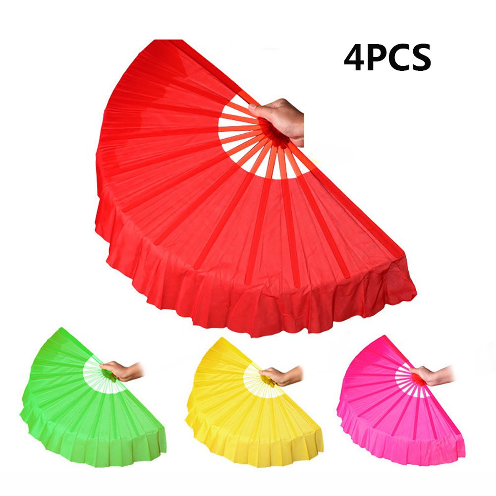Chinese Dance Fan, Smartlife15 Plastic Frame Foldable Performances Belly Dance Hand Fan, Martial Arts Kung Fu Tai Chi Fan, Wedding Holiday Festival Party Gift Fan (4Colors) by Smartlife15