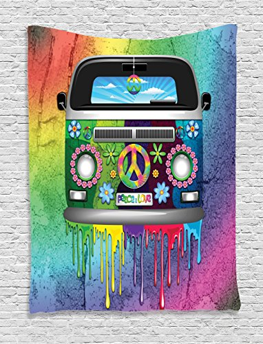 Ambesonne Groovy Tapestry, Old Style Hippie Van with Dripping Rainbow Paint Mid 60s Youth Revolution Movement Theme, Wall Hanging for Bedroom Living Room Dorm, 40 W X 60 L Inches, Multicolor ()