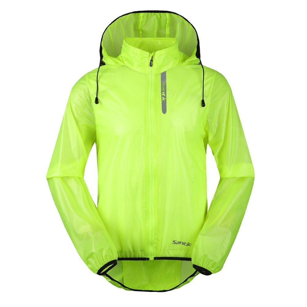 Santic Men's Cycling Rain Coat Jersey Bicycle Windproof Jacket Hooded Skin Coat Green X-Large 7008V, (USA Large)