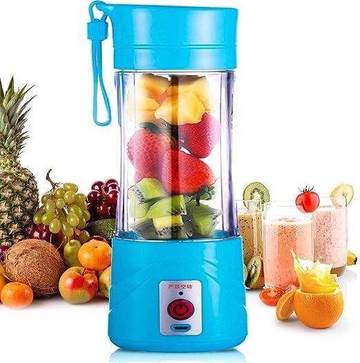 Licuadora portátil, tamaño personal USB Juicer Cup, máquina mezcladora de frutas de 380 ml con 6 cuchillas para el hogar y viajes, batido y batido de leche: Amazon.es: Hogar