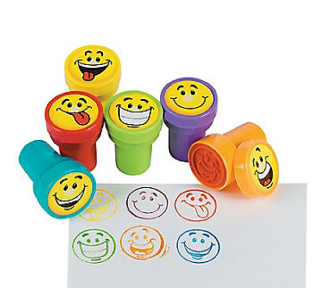 6 ~ Silly Smile Face Stamps Stampers ~ Self-inking ~ 1.5 ~ New Shrink-wrapped FX