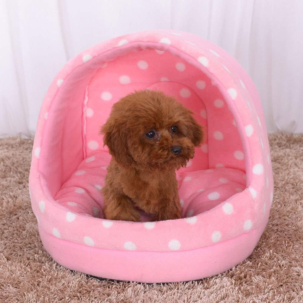 Pink S Pink S Kirabon Pet Nest Comfortable Cotton Kennel Cat Bed Pet Supplies (color   Pink, Size   S)