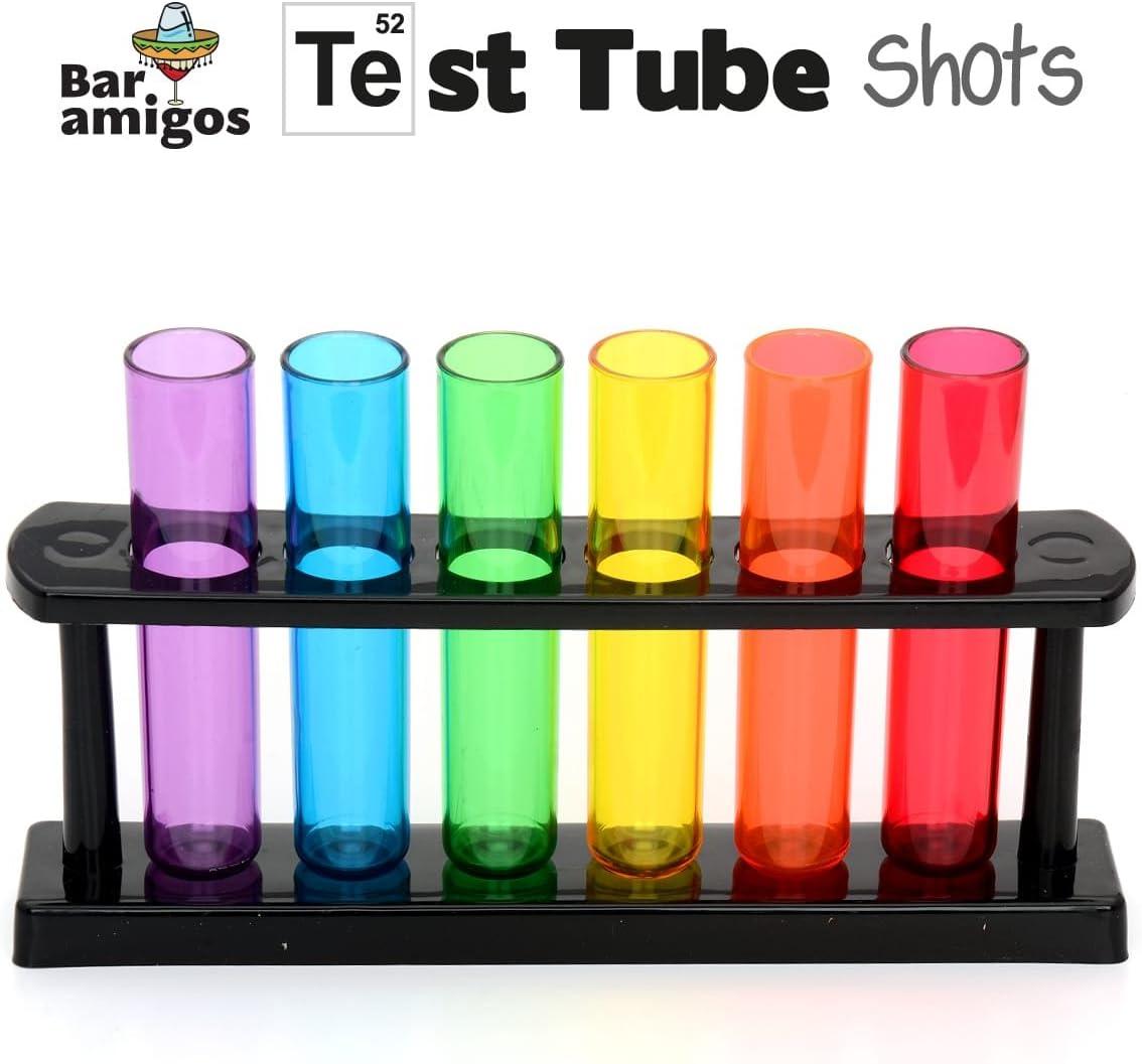 CKB LTD - Bar Amigos- Test Tube Party Drink Shots - Multi Colour - Set of 6