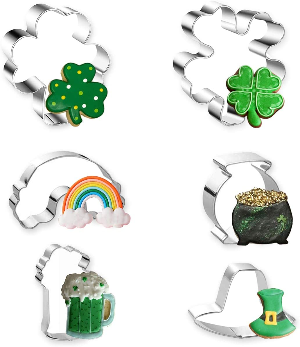 St. Patrick's Day Cookie Cutter, 6 Pcs Cookie Cutters Set Shamrock, Four Leaf Clover, Beer Mug, Rainbow, Top Hat and Pot of Gold Stainless Steel Biscuit Cutters for St. Patrick's Day Irish Party