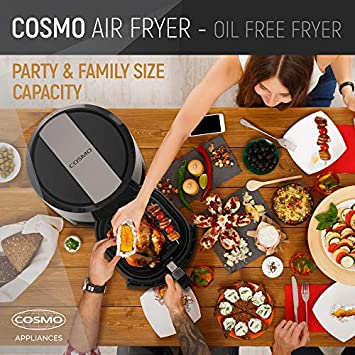 Cosmo XL 5.5 Qt Hot Air Fryer, Extra Large Family Size Oil-less Electric Convection Oven Cooker with 7 Digital Cooking Presets, Fry Bake Accessories, Healthy Recipe Cook-Book Black 55AFDKB