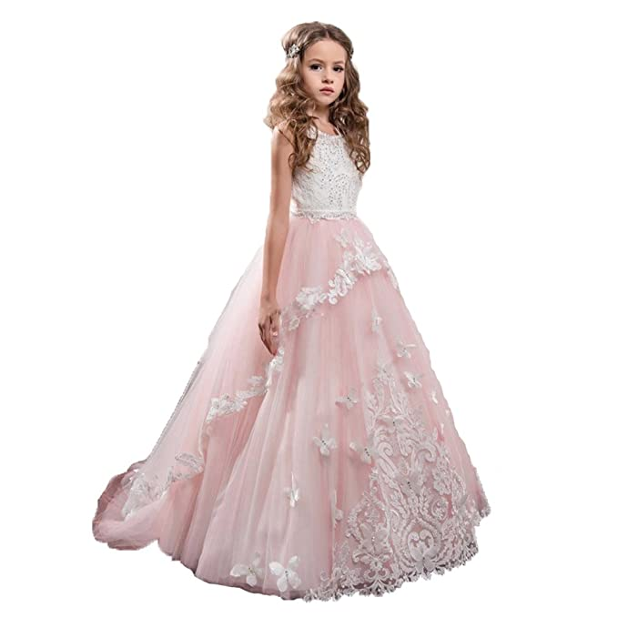 c4c626c25 VIPbridal Vestido De Fiesta De Flores Rosa Tulle Appliques Vestidos De  Primera Comunion (10)
