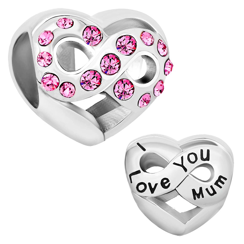 Korliya I Love You Mum Charm Infinity Heart Love Bead For European Bracelet i6Oje