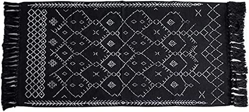 Ukeler Decorative Geometric Kilim Rug Cotton Printed Area Rugs Modern Hand Woven Rag Rug with Tassels Durable Accent Door Mat Throw Rug for Kitchen Laundry Room Bedroom, 23.6 x 51.2 , Abstract Black