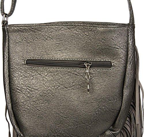 styleBREAKER Umhängetasche mit langen Fransen im coolen Ethno Style, Schultertasche, Tasche, Damen 02012113, Farbe:Schwarz Antik-Grau