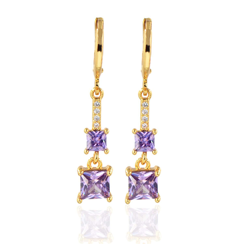 Bnialaed Dangle Earrings Fashion Gold Color Earrings Five Colors Princess CZ Stones Women Girls Long Dangle Drop Earrings Jewelry XEG191-Black