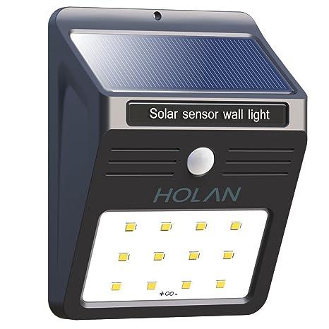 Lámpara solar con detector de movimiento, Soft Digits 12 LED Lámpara solar para pared Sensor