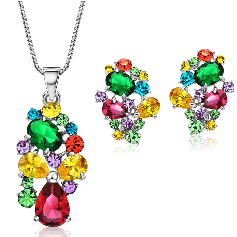 NEOGLORY Conjunto de Joya Collar Pendientes Flor de Colores con Cristales SWAROVSKI