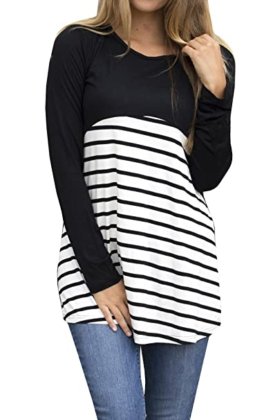 fa939b2d423186 Gemijack Womens Tunic Tops Casual Long Sleeve Striped Color Block T Shirts  Blouse For Leggings by at Amazon Women s Clothing store