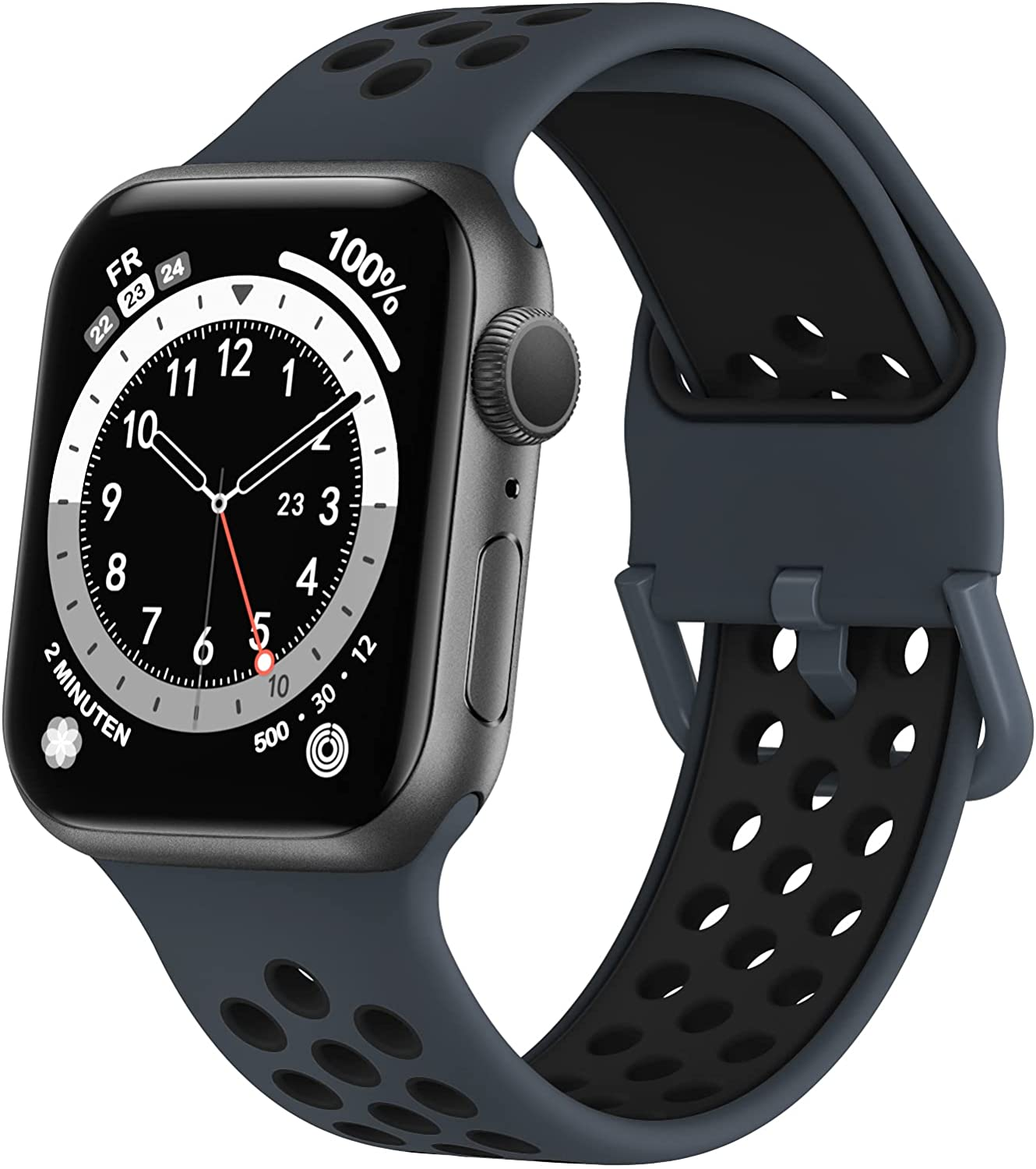 Marlova Compatible with Apple Watch Bands 40mm 38mm, Soft Silicone Breathable Air Hole Sport Wristbands with Classic Clasp for iWatch Series Se/6/5/4/3/2/1, Anthracite/Black 38mm 40mm