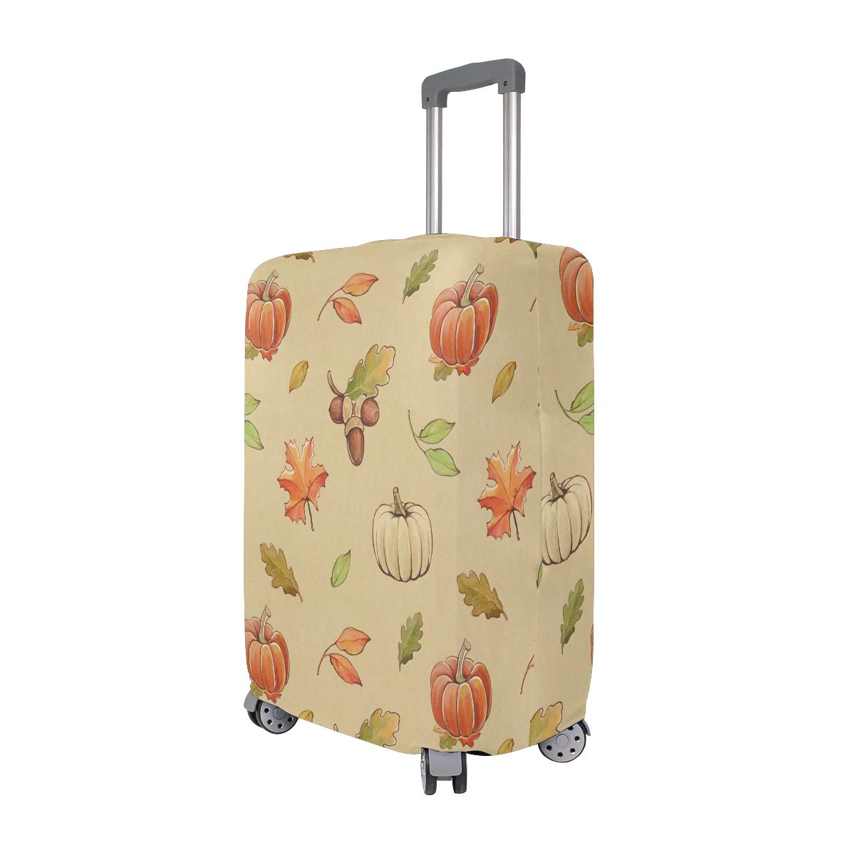 VIKKO Autumn Leaves And Pumpkin Travel Luggage Cover Suitcase Cover Protector Travel Case Bag Protector Elastic Luggage Case Cover Fits 29-32 Inch Luggage for Kids Men Women Travel