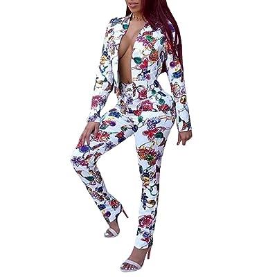 Chellysun Women's Casual 2 Piece Floral Print Bodycon Sweatsuit Set Tracksuit Outfits