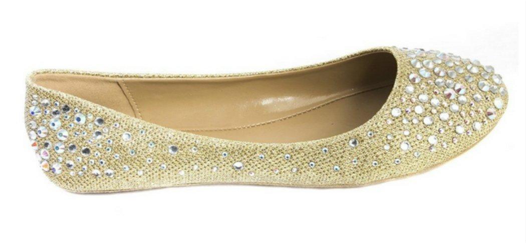JJF Shoes Larisa Champagne Bling Sparkling Rhinestone Glitter Slip Loafer Ballet Flat Shoes-7.5