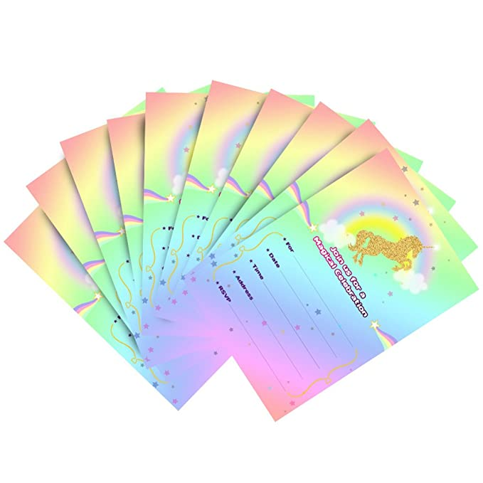 12 unids Kit Completo invitacion a cumpleaños de Tarjeta Unicornio magico + Sobre + Pegatina Fiesta, cumples, Aniversarios, Bodas, escaparates Manualidades ...