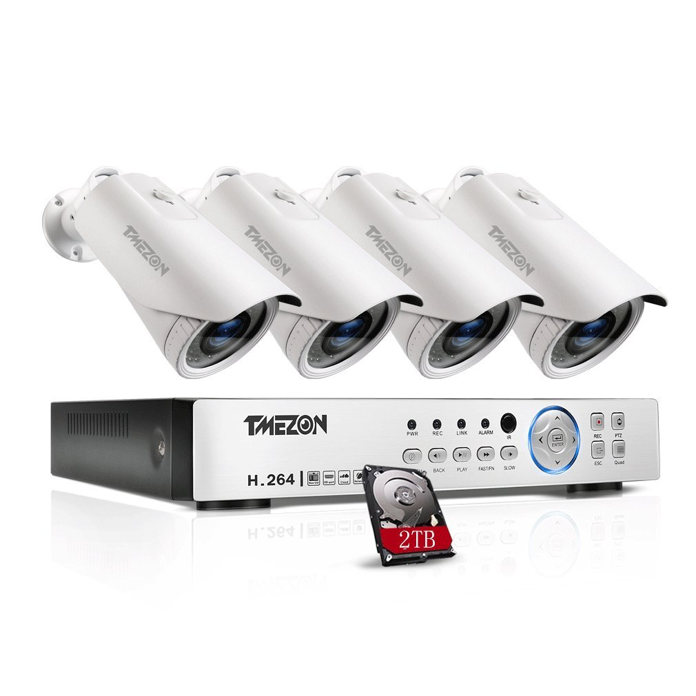 TMEZON AHD監視カメラ4台 200万画素 赤外線LED42個 2.8mm-10mm調節レンズ&4CH 1080Pレコーダー 2TB HDD付き B01N5LXXJO カメラ4台+4chレコーダー(2TB HDD付き) カメラ4台+4chレコーダー(2TB HDD付き)