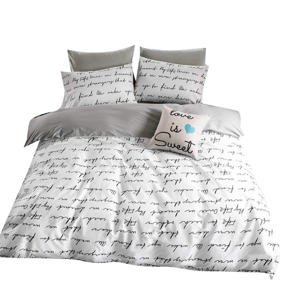 VClife Duvet Cover Twin Cotton Bedding Duvet Cover Sets-1 Duvet Cover 2 Pillowcases-Reversible Love Letter White Grey Pattern, Lightweight Comfortable Durable for Bedroom Guest Room, Chic Bedding Sets