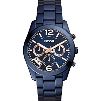 Amazon.com: Fossil Perfect Boyfriend Sport Multifunction Stainless Steel Watch (Blue): Watches