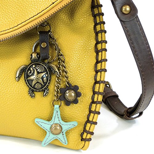 TU Purse Leather Charm Crossbody in 1 Yellow Purse with PU Metal Turtle Charming Mustard I817qwxSw