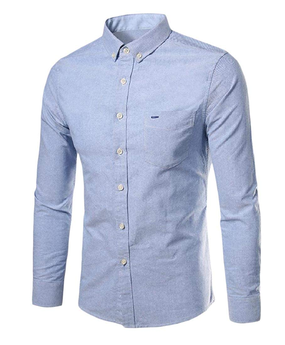 YUNY Mens Button Long Sleeve Business Comfy Blouses and Tops Shirts Light Blue 3XL