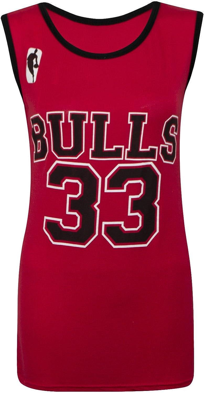 Camiseta sin mangas para mujer - Chicago Bulls 33 - Tallas 8-14 multicolor rosso Talla única: Amazon.es: Ropa y accesorios