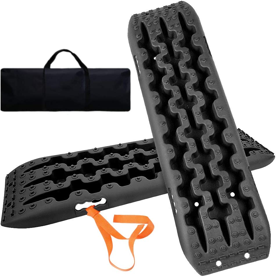 Ayleid Off-Road Recovery Traction Board Track Tire Ladder Mat for Sand Snow Mud Tire Traction Tool 4WD Red