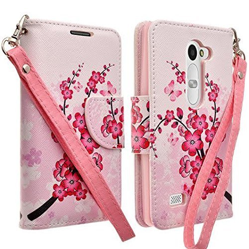 LG G Stylo Case, LG Stylo LS770 Case LG G4 Note Case by iViva For Luxury Magnetic ID Folio Wallet Case + LG G Stylo LCD Clear Screen Protector (Cherry Sakura Flora with Butterfly) -