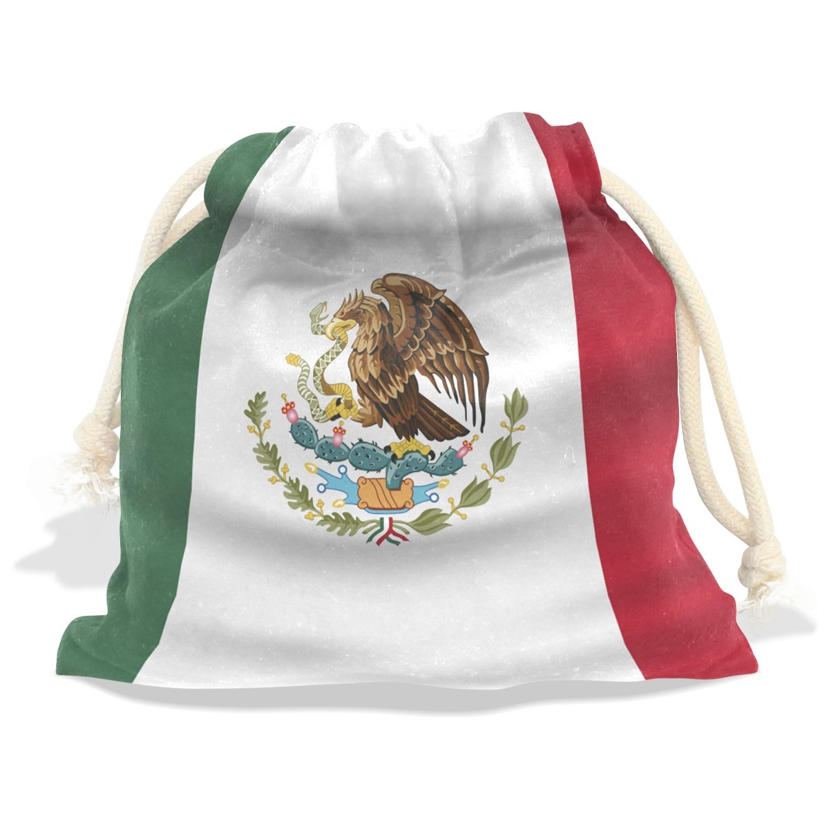 super3Dprinted Mexico Flag Velvet Drawstring Gift Bag Wrap Present Pouch Favor for Party Game Wedding, Multiple Sizes Available
