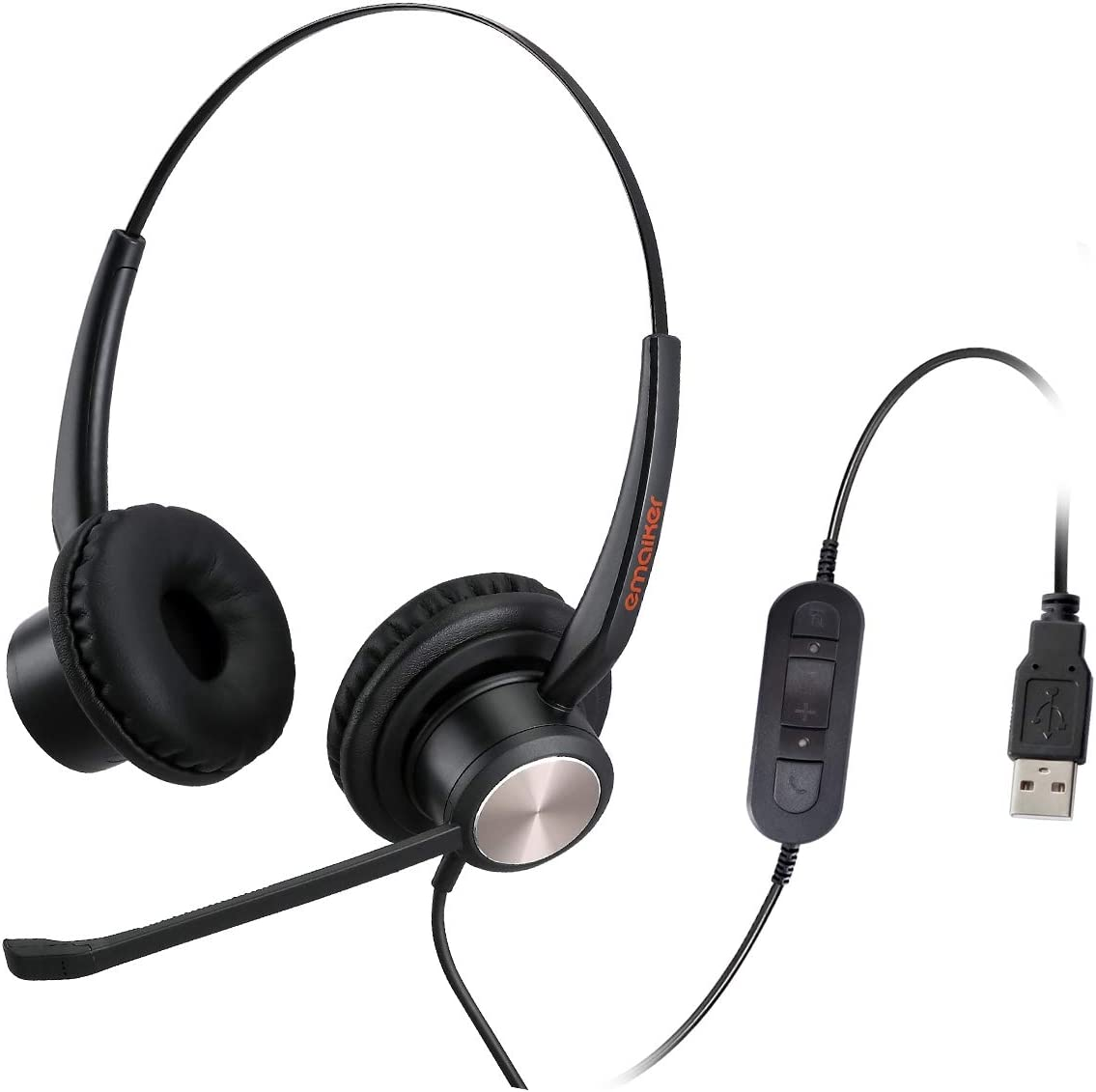 Emaiker Stereo USB Headset with Noise Cancelling Microphone PC Headphone with Mic Mute Volume Control Call Button for Office Call Center Skype Chat Teams Zoom Dragon Voice Recognition Speech Dictation