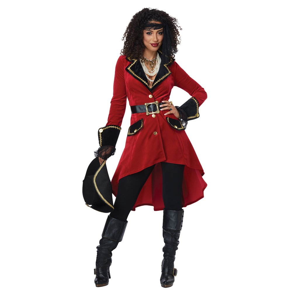 Women's High Seas Heroine Red Pirate Costume Coat (Coat Only) - DeluxeAdultCostumes.com