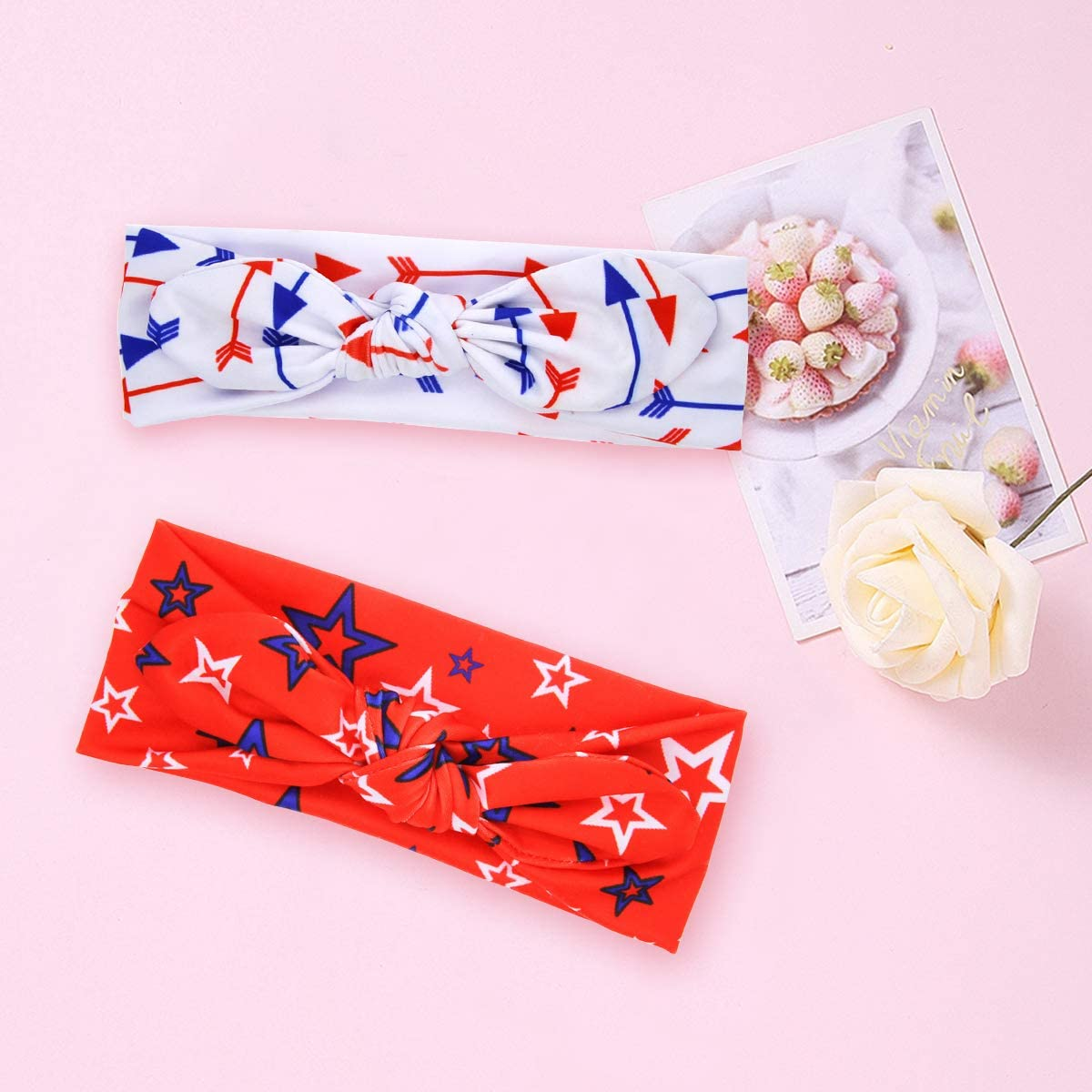 COUXILY Baby Girls Turban Knotted Nylon Headband Infant Toddler Head Bands Newborn Hairbands and Bows Cute Hair Accessories