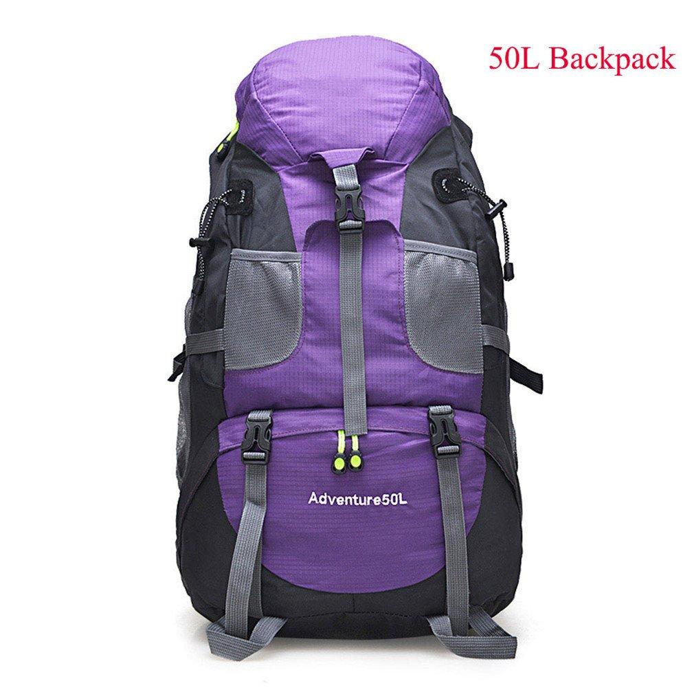 60l防水登山ハイキングバックパックRain Cover Bag 50lキャンプ登山バックパックスポーツアウトドアバイクバッグ  Purple 50L B07CQQ91JX