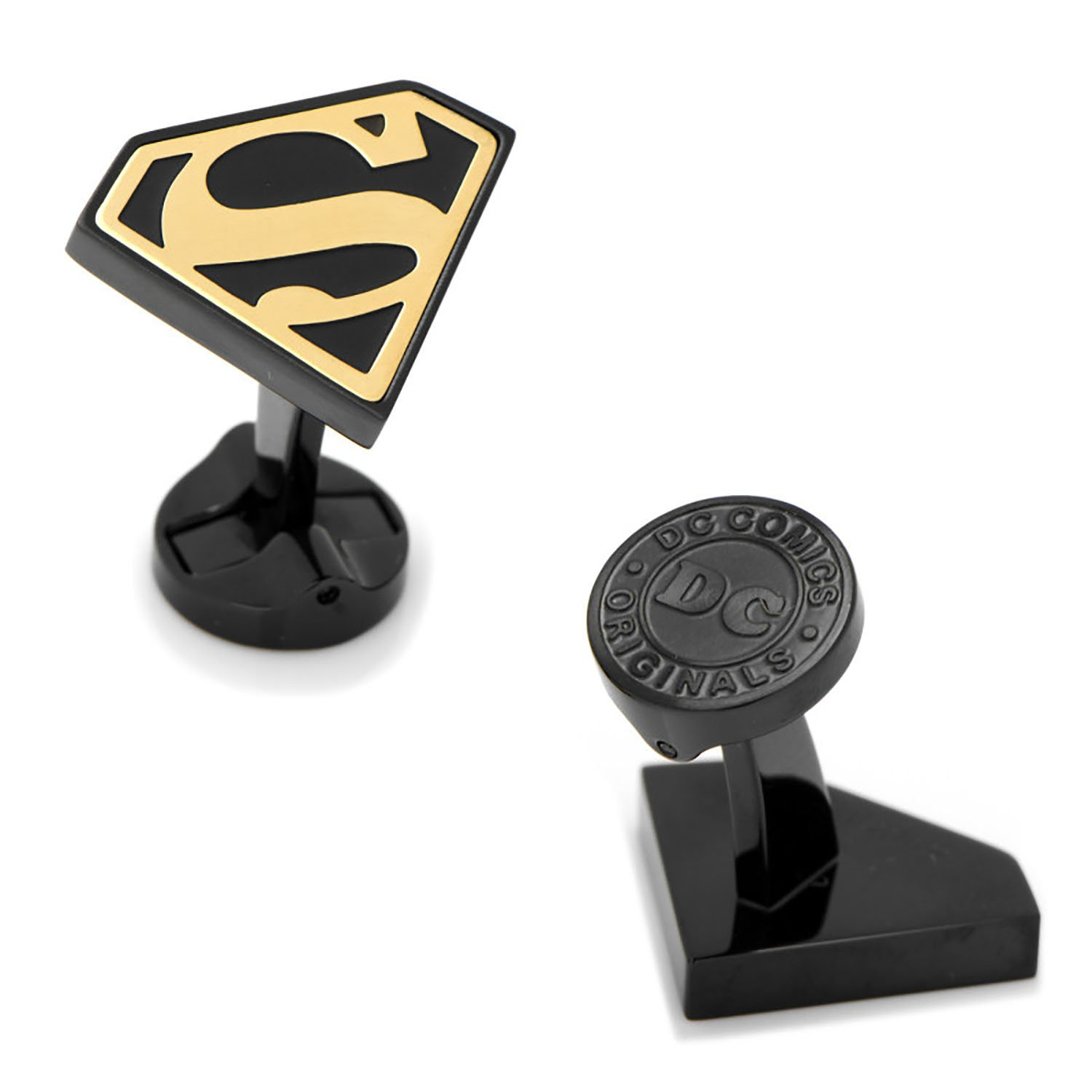 Stainless Steel Black and Gold Superman Cufflinks by DC Comics Cufflinks