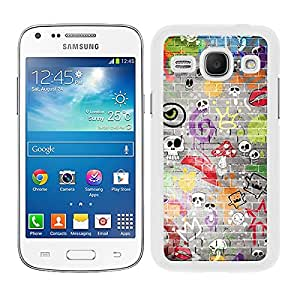 Funda carcasa para Samsung Galaxy Core Plus diseño estampado pared calaveras borde blanco