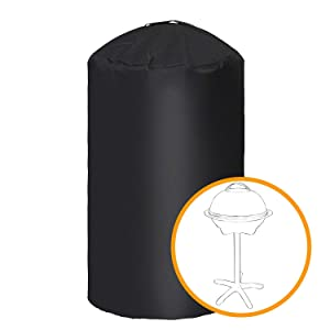 """i COVER Round Grill Cover-19.5""""(Dia) 32""""(Tall) Water Proof Heavy Duty Outdoor Canvas BBQ Grill Cover Dome Smoker Cover Fits George Foreman Gfo3320 Gfo240 or Similar Size Grills."""