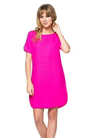 Vivid Color Shift Dress Hot Pink Color Size : S at Amazon Women's ...