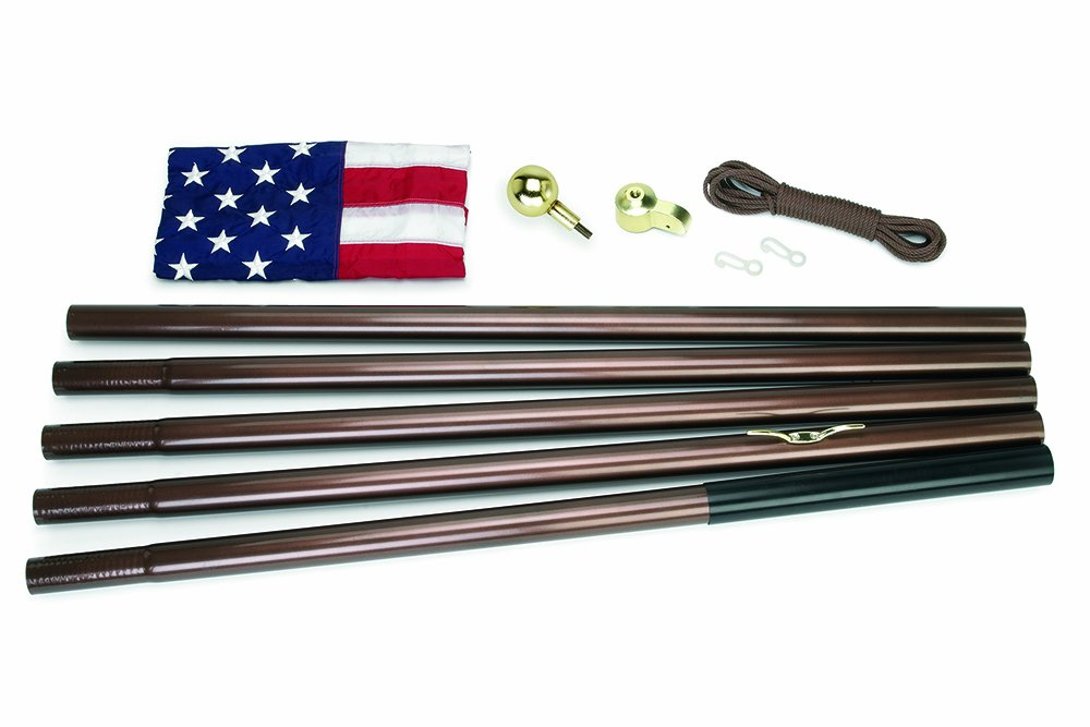 Valley Forge Flag All-American Series 3 x 5 Foot Nylon US American Flag Kit with 18-Foot Bronze Steel In-Ground Pole and Hardware