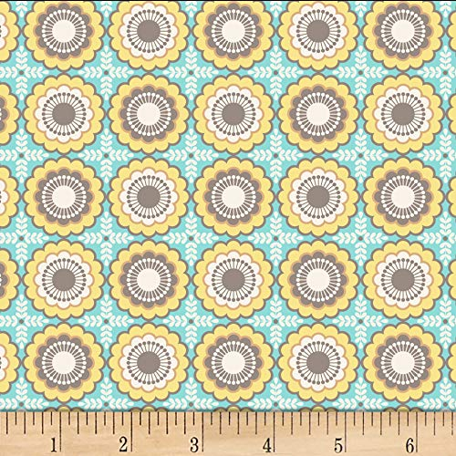 - David Textiles Maria Floral Light Teal Fabric Fabric by the Yard