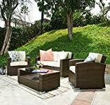 Carabelle Outdoor Wicker Patio 4 Piece Conversation Set with Seat Cushions, Dark Brown and Beige