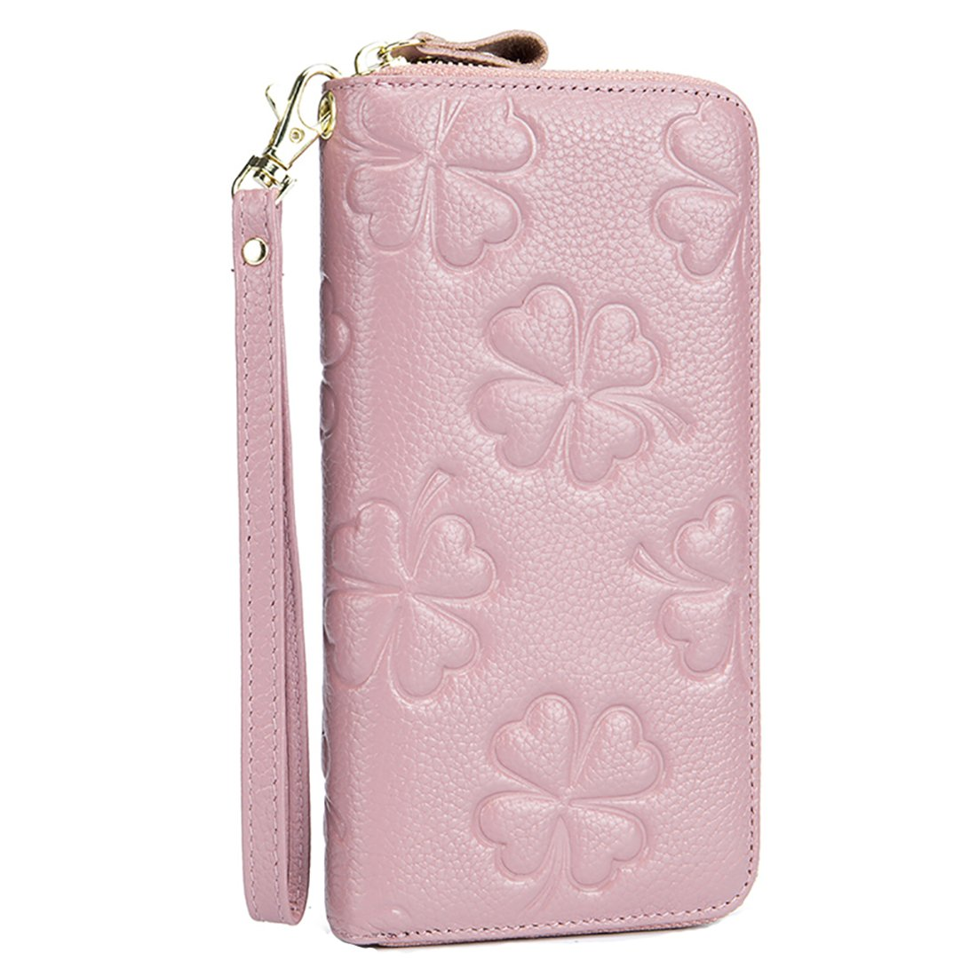 Women RFID Wallet Genuine Leather Clutch Wristlet Handbag Purse Embossed Flower Credit Card Holder HASFINE