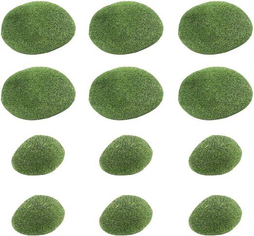 Yardwe 20 Piezas De Rocas De Musgo Artificial Piedras Decorativas De ImitacióN para Arreglos Florales ImitacióN Rocas De Musgo Bolas De Musgo Verde Flocado Piedras De Cubierta: Amazon.es: Jardín