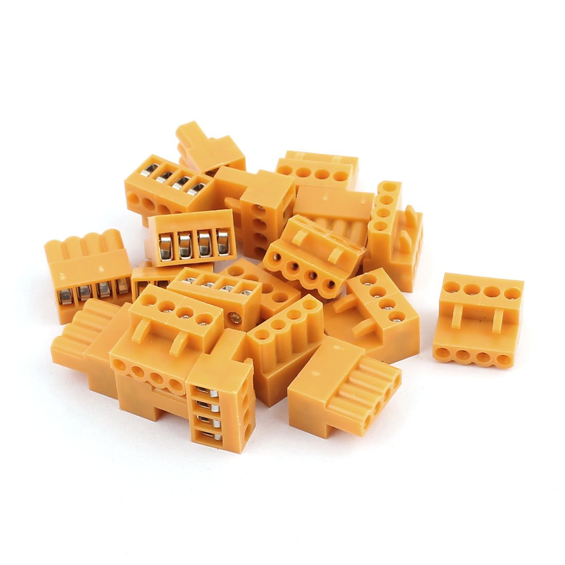 uxcell 20Pcs 300V HT3.96K 3.96mm Pitch 4P PCB Screw Terminal Block Connector Orange a16122000ux0530